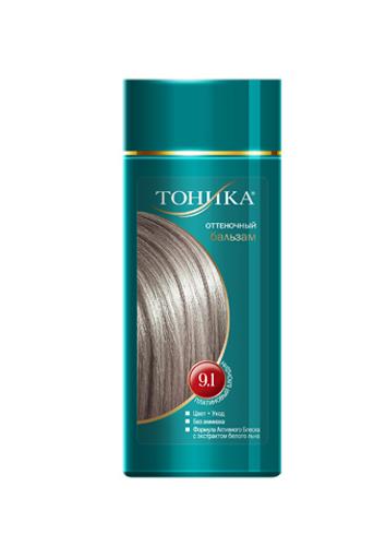 Тоника Оттеночный бальзам 9.1 Платиновый блондин, 150 мл6120Хит продаж! Выбирайте платиновый цвет волос, который обязательно привлечет внимание всех вокруг! Красивые и здоровые волосы- важный элемент имиджа!Подходит для осветленных и светлых волос Не содержит спирт, аммиак и перекись водорода Содержит уникальный экстракт белого льна Красивый оттенок + дополнительный уход Стойкий цвет без вреда для волос
