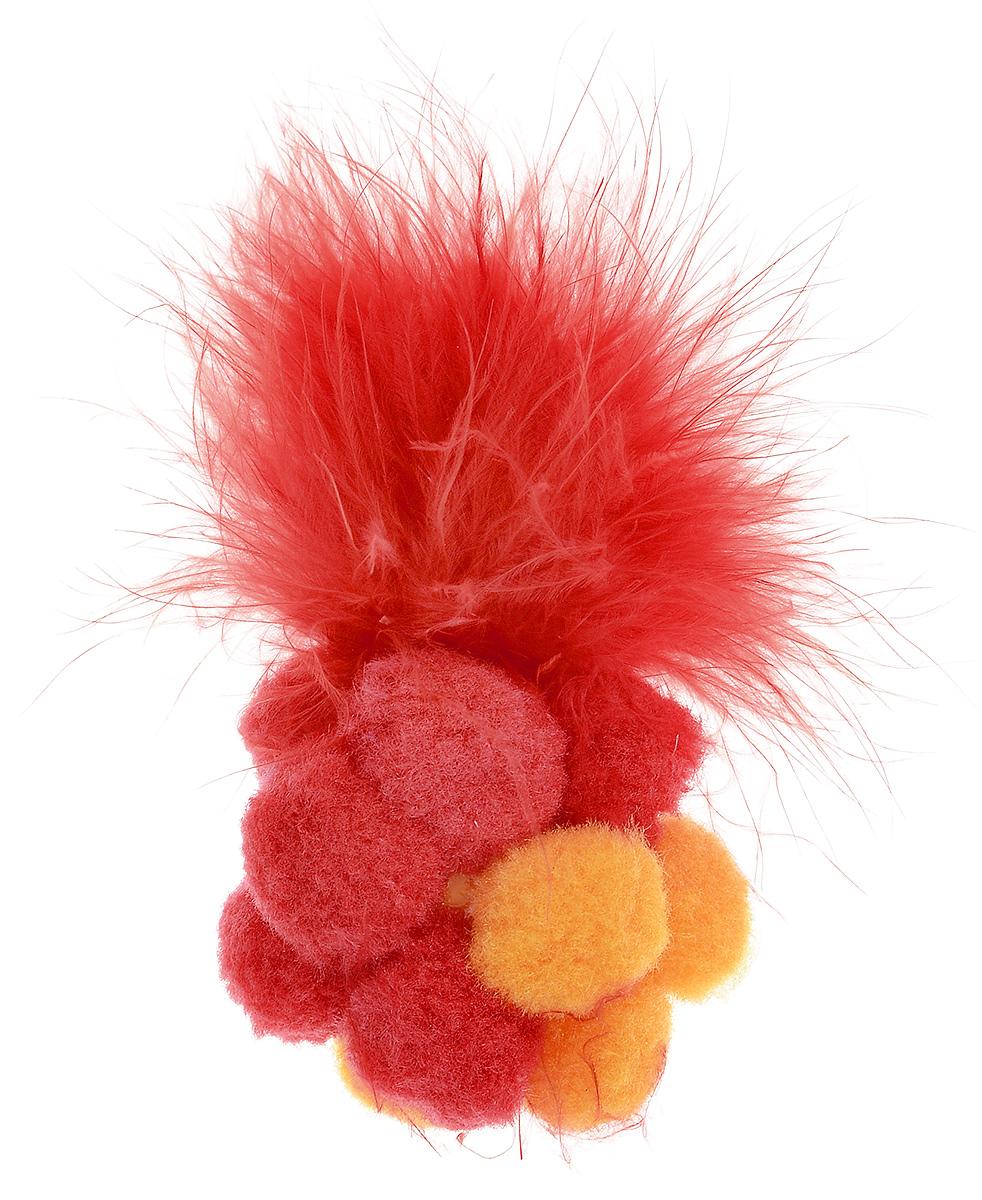 Игрушка для кошек Zoobaloo Разноцветный мячик, цвет: в ассортименте, длина 12 см игрушка для кошек zoobaloo разноцветный мячик с пером