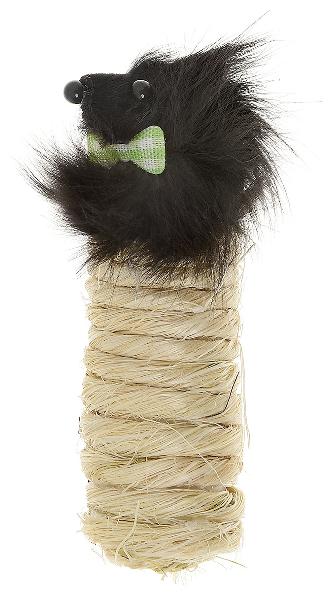 Игрушка-когтеточка для кошек Zoobaloo Мышка с бабочкой, длина 10 см игрушка для кошки плюшевый мяч с бубенчиком с кошачьей мятой zoobaloo