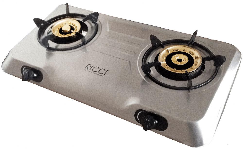 Ricci RGH-702C, Silver настольная плита17 RGH-702CГазовая плитка Ricci RGH-702C - стильный современный бытовой прибор для приготовления пищи, очень компактный и мобильный. Он имеет две конфорки, благодаря чему владелец может одновременно готовить или разогревать два блюда или кипятить чайник.Корпус плиты изготовлен из нержавеющей стали, горелки выполнены из латуни имеют разный диаметр. Устройство работает от баллонного газа (в качестве топлива используется пропан-бутан), чтобы зажечь пламя, достаточно воспользоваться пьезоподжигом.Функция Малое пламя, которой оборудована Ricci RGH-702C, позволяет убавить огонь для того, чтобы подогреть еду, или в тех случаях, когда блюдо нужно готовить при минимальной температуре. Кроме того, данная плитка идеально подходит для приготовления пищи в казанах и воках.Номинальное давление: 2900 ПаМатериал горелок: латуньПьезоподжигРучки: пластикРазмер горелок: левая - 100 мм, правая - 120 ммЭмалированные решетки