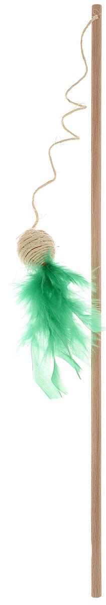 Игрушка для кошек Zoobaloo Удочка - шарик с пером игрушка для животных каскад удочка с микки маусом 47 см