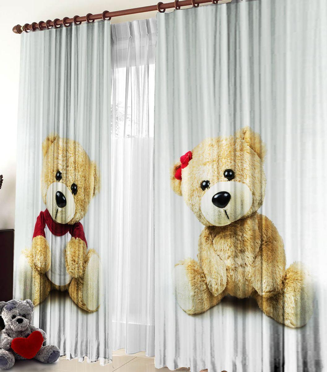 Комплект фотоштор Zlata Korunka Медвежата, на ленте, высота 270 см