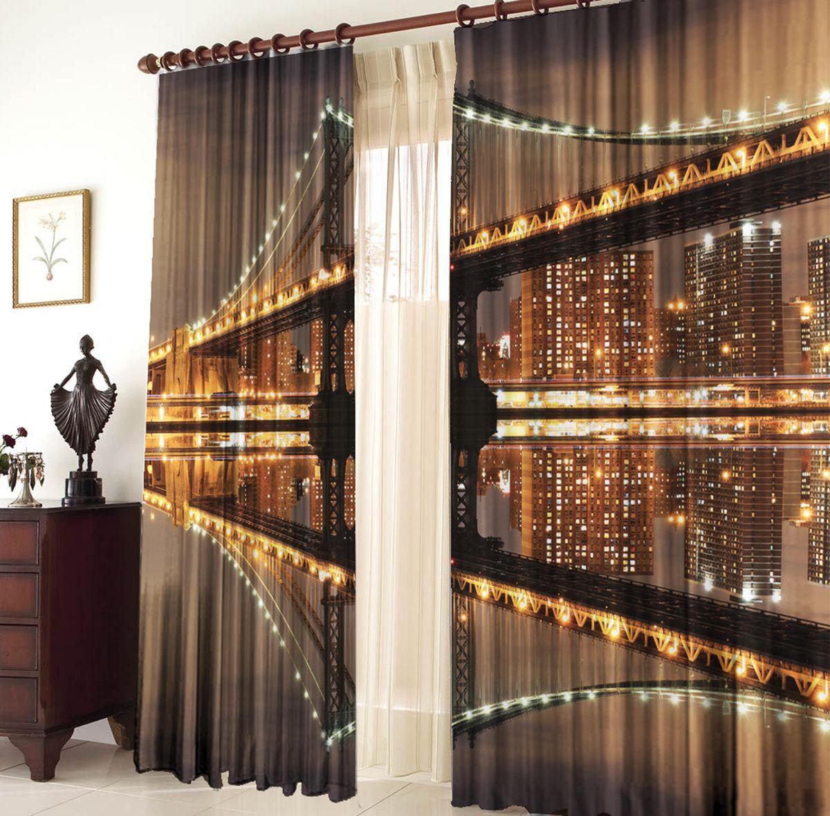 Комплект фотоштор Zlata Korunka Мост, на ленте, высота 270 см21213Комплект фотоштор Zlata Korunka изготовлен из габардиновой ткани высочайшего качества. Фотошторы способны не пропускать самый яркий свет, их можно гладить и стирать. Рекомендации по уходу: бережная стирка при 30°С, деликатный отжим, отбеливание запрещено, гладить при температуре не более 150°С. Светопоглощение 70%. Плотность ткани: 150 г/м2. Оттенок изделия может отличаться от представленного на сайте в силу особенностей цветопередачи фототехники и вашего монитора.