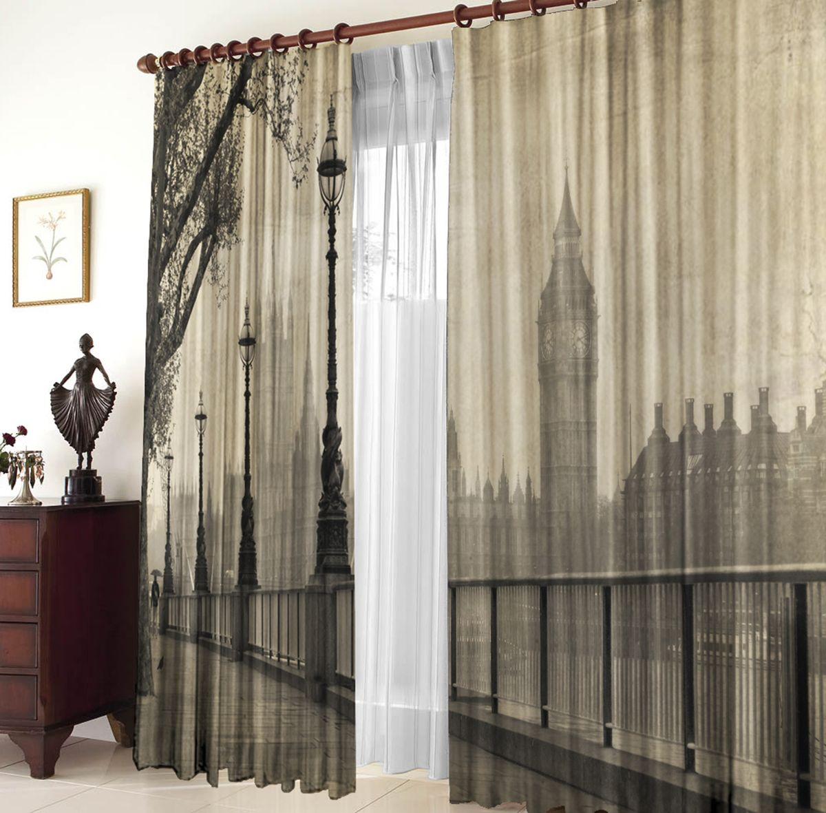 Комплект фотоштор Zlata Korunka Улицы Лондона, на ленте, высота 270 см