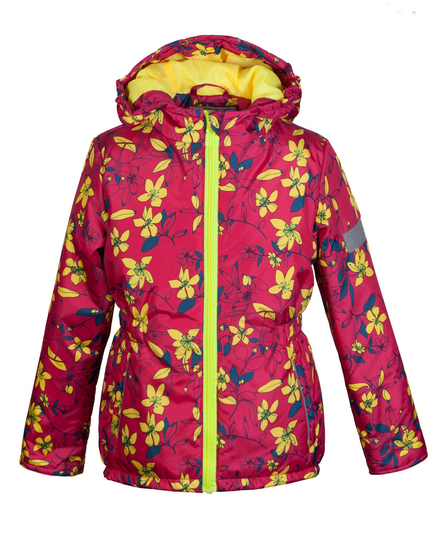 Куртка для девочки Jicco Альма, цвет: малиновый, желтый. 2К1716. Размер 98, 3 года2К1716Легкая и удобная весенняя куртка Jicco Альма прекрасно подойдет для юных модниц. Благодаря утеплителю плотностью 100 г/м2 куртку можно носить при температуре от +10°С до -5°С. Она прекрасно защитит от ветра и весеннего дождя. Куртка имеет все самое необходимое для комфортной носки. Модель застегивается на молнию. Внутренняя ветрозащитная планка снабжена защитой подбородка от прищемления. Капюшон несъемный, для лучшего прилегания по краям вшита резинка. Манжеты рукавов присборены на резинку. По талии вшита резинка для лучшего прилегания. Также есть светоотражающие элементы и два прорезных открытых кармана. Модель оформлена ярким цветочным рисунком.