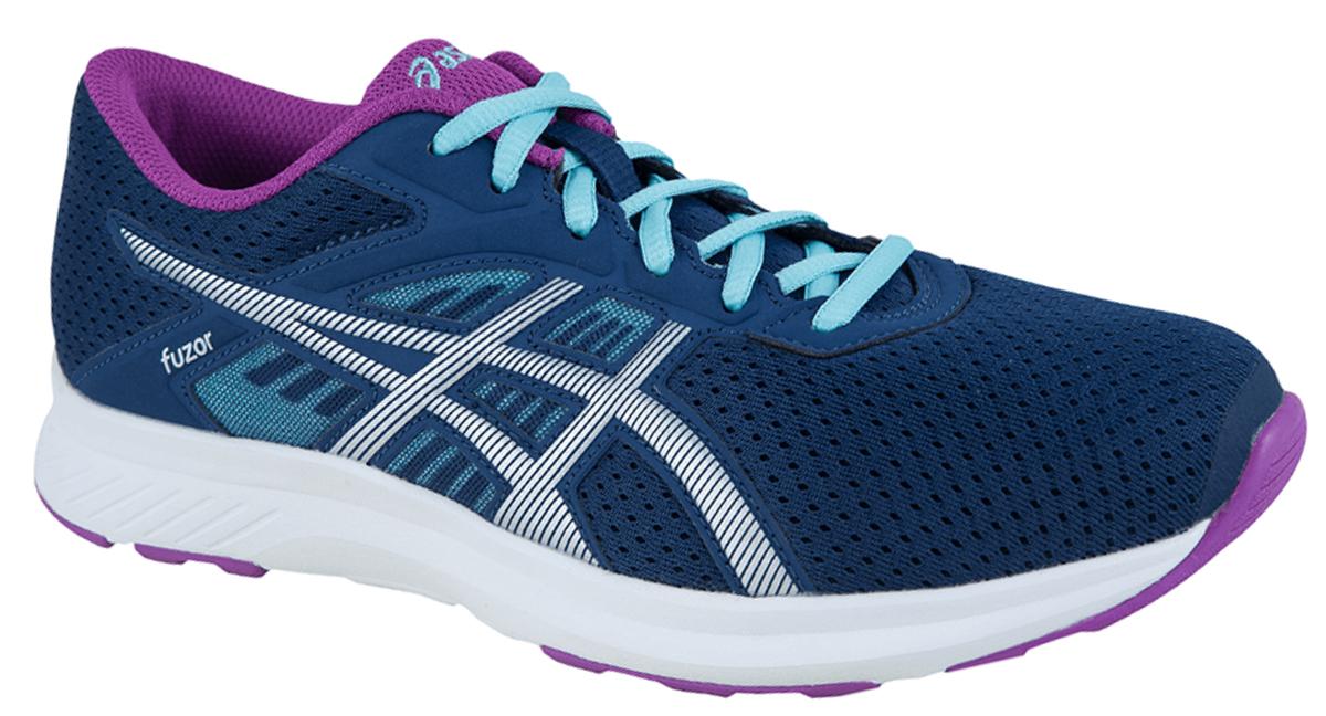 Кроссовки для бега женские Asics Fuzor, цвет: темно-синий. T6H9N-4993. Размер 7H (37,5)T6H9N-4993Выберите стиль, который позволит вам отлично выглядеть и использовать все преимущества спортивной обуви. Эти легкие женские беговые кроссовки обеспечивают комфорт за счет дышащего сетчатого верха. Кроссовки Asics Fuzor одинаково хорошо выглядят и работают на тротуарах города и на пересеченной местности. Дышащая сетка для чувства прохлады. Комфорт каждодневных пробежек благодаря легкой амортизации.