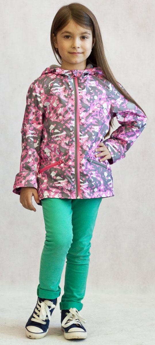 Ветровка для девочки Jicco Эсма, цвет: розовый, серый. 3К1717. Размер 92, 2 года3К1717Легкая весенняя ветровка от Jicco By Oldos из принтованной курточной ткани станет украшением весеннего гардероба. Такая курточка идеально подойдет на ветреную погоду с температурой +10…+20°С, она защитит от легкого весеннего дождя и переменчивого ветра. Модель имеет флисовую подкладку на груди, спинке и в капюшоне. Ветрозащитная планка снабжена защитой подбородка от прищемления. Капюшон не отстегивается, для лучшего прилегания по краю вшита резинка. Рукава прямые, талия присборена на резинку. Ветровка оснащена светоотражающими элементами и двумя накладными карманами на молнии. Модель декорирована красочным абстрактным принтом.