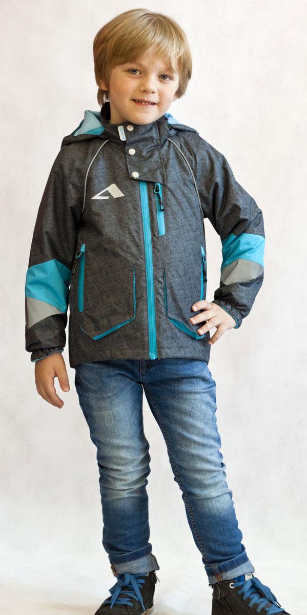 Ветровка для мальчика Oldos Active Юджин, цвет: серый, голубой. 17/OA-3JK517-2. Размер 140, 10 лет куртки violeta by mango куртка donald