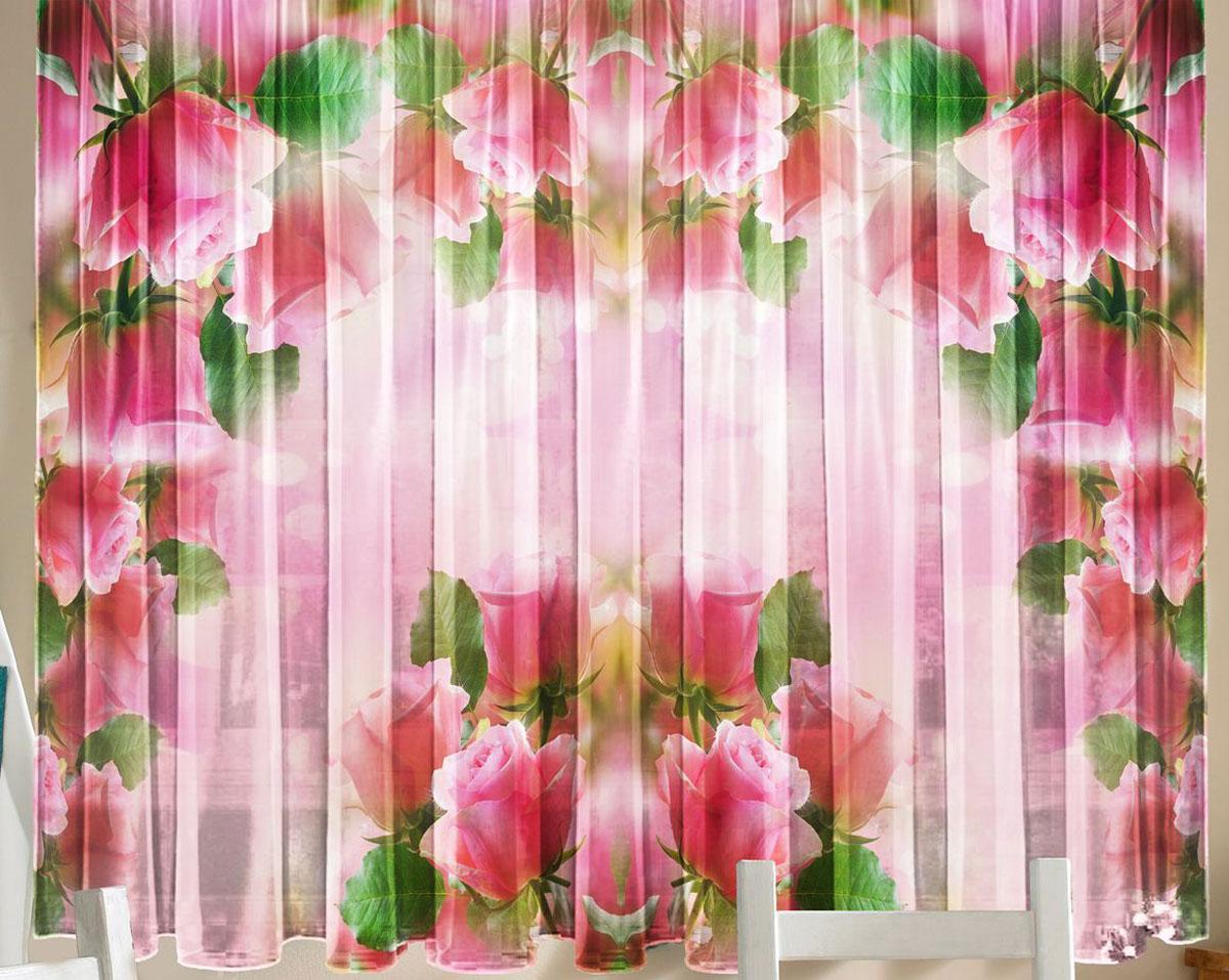 """Комплект фототюлей для кухни Zlata Korunka """"Розовая арка"""", на ленте, высота 160 см"""