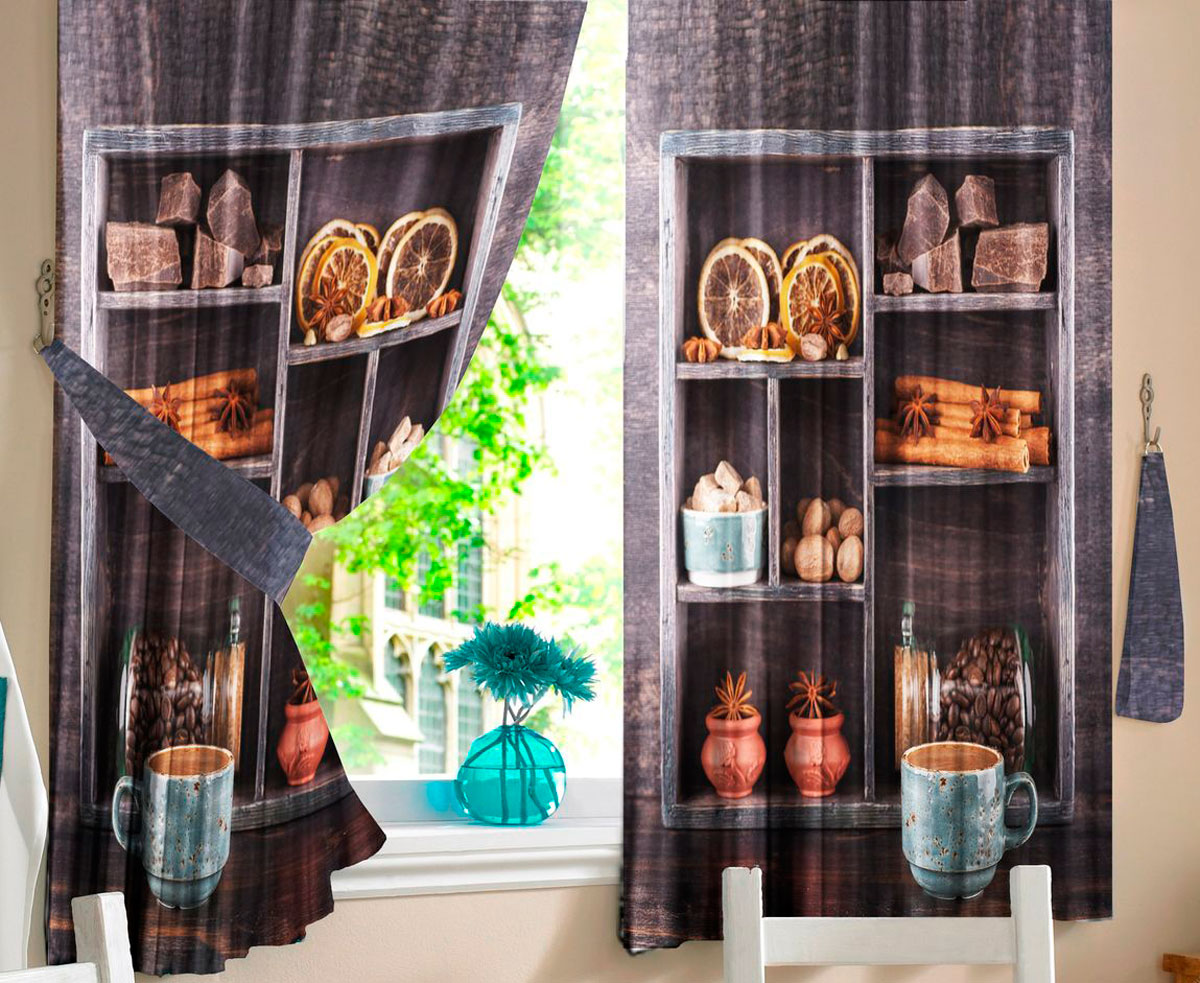 Комплект штор для кухни Zlata Korunka Арабика, на ленте, высота 160 см21308