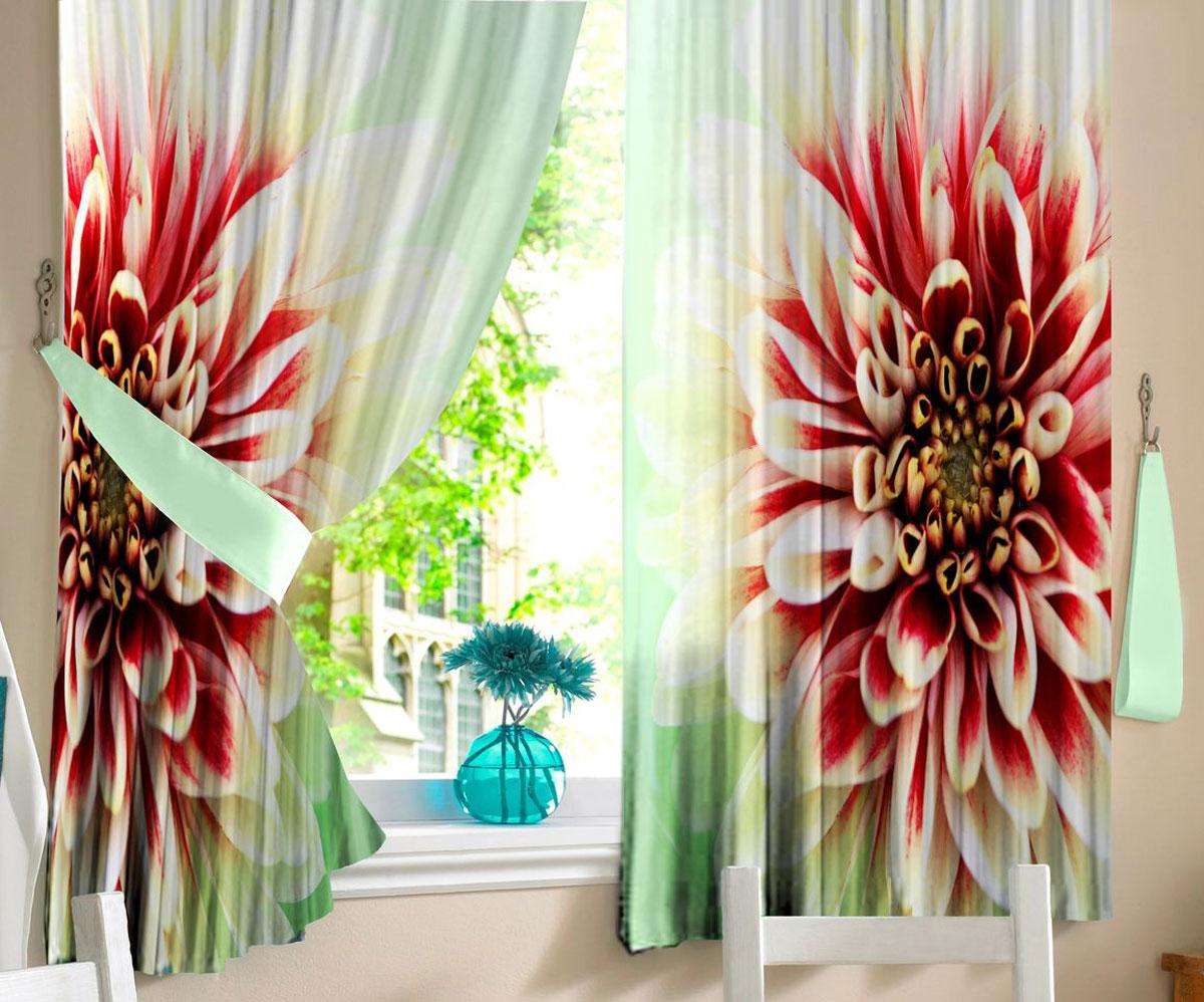 Комплект фотоштор для кухни Zlata Korunka Георгин, на ленте, высота 160 см21312Комплект штор для кухни Zlata Korunka, выполненный из полиэстера, великолепно украсит любое окно. Комплект состоит из 2 штор. Крупный цветочный рисунок и приятная цветовая гамма привлекут к себе внимание и органично впишутся в интерьер помещения. Этот комплект будет долгое время радовать вас и вашу семью!Комплект крепится на карниз при помощи ленты, которая поможет красиво и равномерно задрапировать верх.