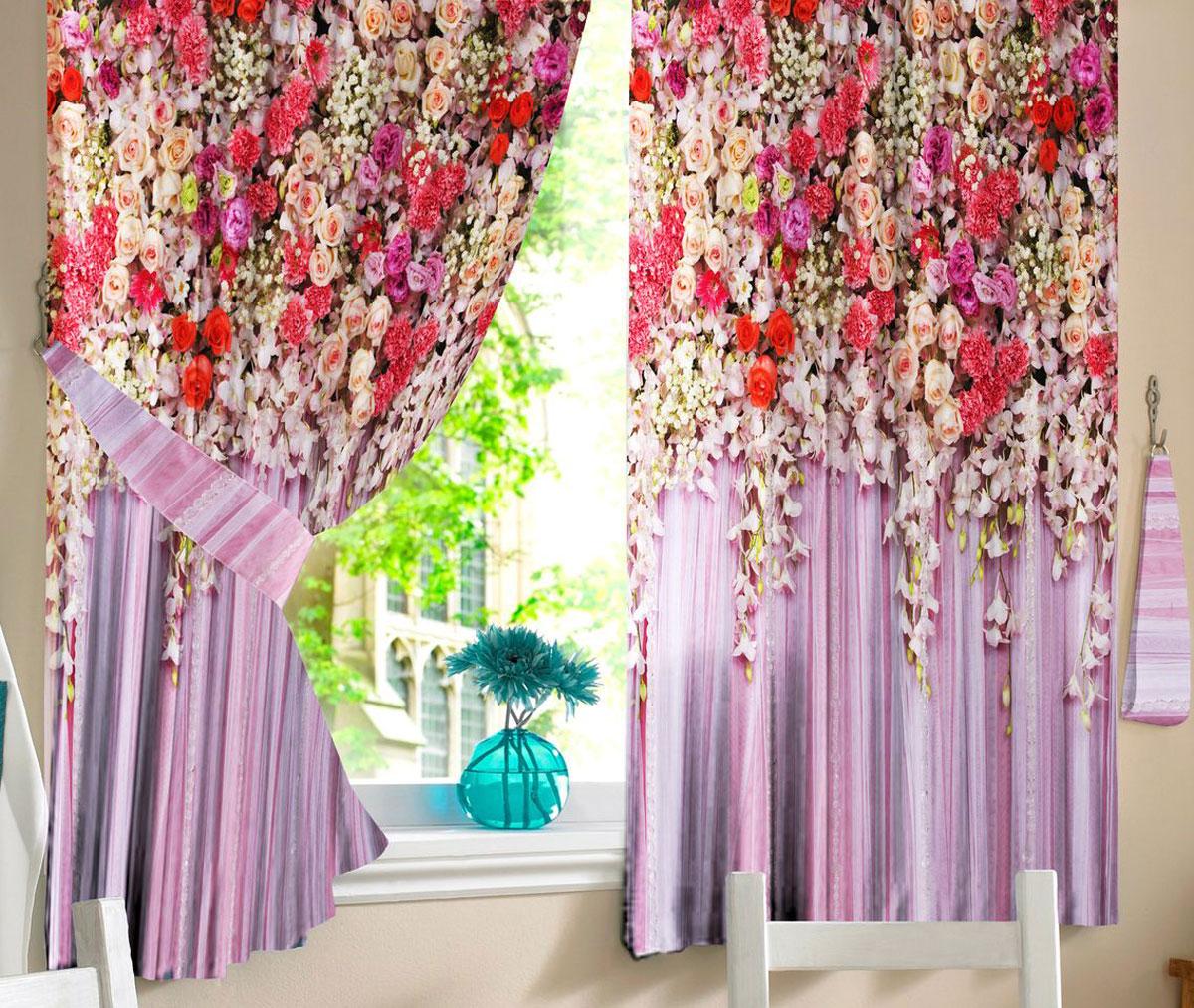 Комплект штор для кухни Zlata Korunka Дивный сад, на ленте, высота 160 см21313Комплект штор для кухни Zlata Korunka, выполненный из полиэстера, великолепно украсит любое окно. Комплект состоит из 2 штор. Яркий рисунок и приятная цветовая гамма привлекут к себе внимание и органично впишутся в интерьер помещения. Этот комплект будет долгое время радовать вас и вашу семью.Комплект крепится на карниз при помощи ленты, которая поможет красиво и равномерно задрапировать верх.
