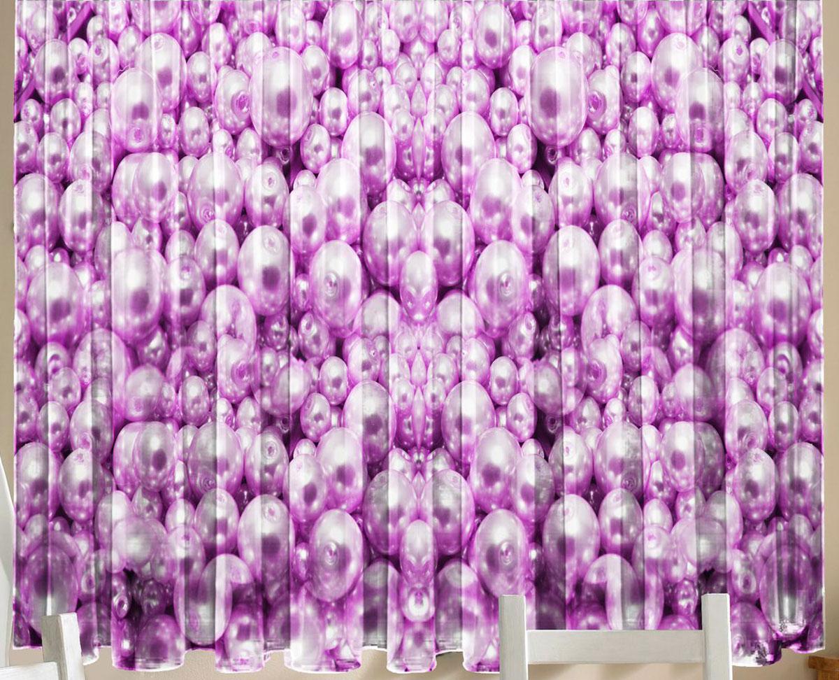 Комплект фотоштор для кухни Zlata Korunka Жемчуг розовый, на ленте, высота 160 см21314Комплект штор для кухни Zlata Korunka, выполненный из полиэстера, великолепно украсит любое окно. Комплект состоит из 2 штор. Крупный рисунок и приятная цветовая гамма привлекут к себе внимание и органично впишутся в интерьер помещения. Этот комплект будет долгое время радовать вас и вашу семью!Комплект крепится на карниз при помощи ленты, которая поможет красиво и равномерно задрапировать верх.