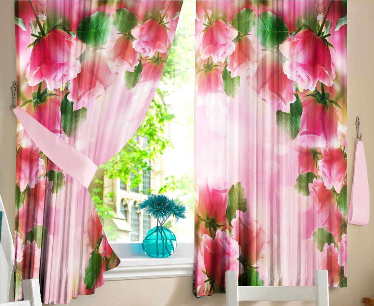 """Комплект штор для кухни Zlata Korunka """"Розовая арка"""", на ленте, высота 160 см"""