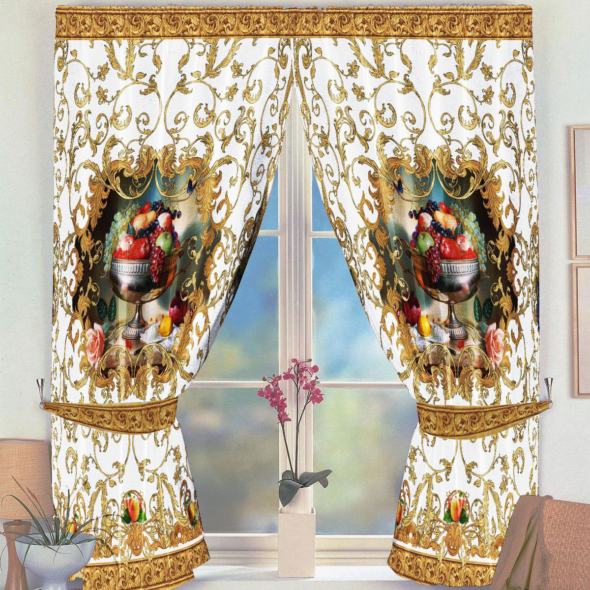 Комплект штор для кухни Zlata Korunka Фрукты, на ленте, цвет: бежевый, высота 160 см21326Комплект штор для кухни Zlata Korunka, выполненный из полиэстера, великолепно украсит любое окно. Комплект состоит из 2 штор. Яркий рисунок и приятная цветовая гамма привлекут к себе внимание и органично впишутся в интерьер помещения. Этот комплект будет долгое время радовать вас и вашу семью.Комплект крепится на карниз при помощи ленты, которая поможет красиво и равномерно задрапировать верх.