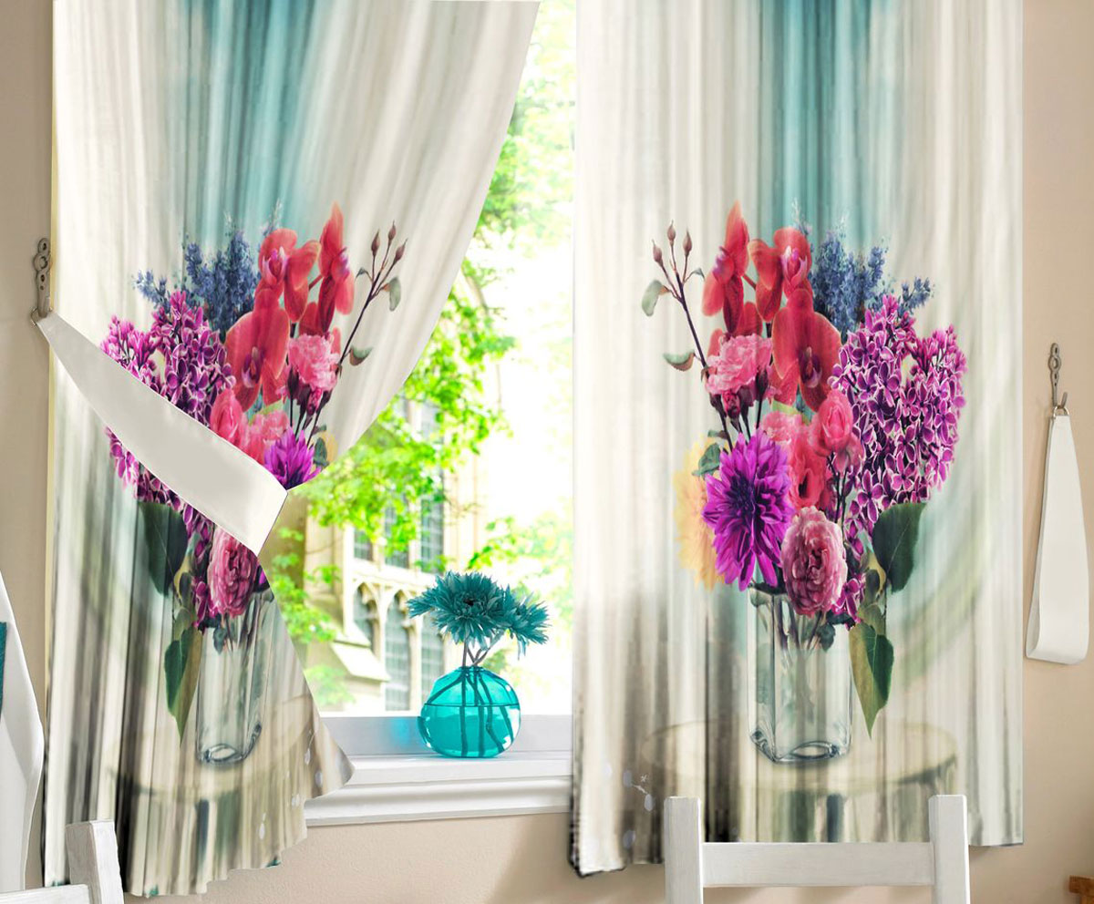 Комплект штор для кухни Zlata Korunka Цветы в вазе, на ленте, высота 160 см21327Комплект штор для кухни Zlata Korunka, выполненный из полиэстера, великолепно украсит любое окно. Комплект состоит из 2 штор. Яркий рисунок и приятная цветовая гамма привлекут к себе внимание и органично впишутся в интерьер помещения. Этот комплект будет долгое время радовать вас и вашу семью.Комплект крепится на карниз при помощи ленты, которая поможет красиво и равномерно задрапировать верх.