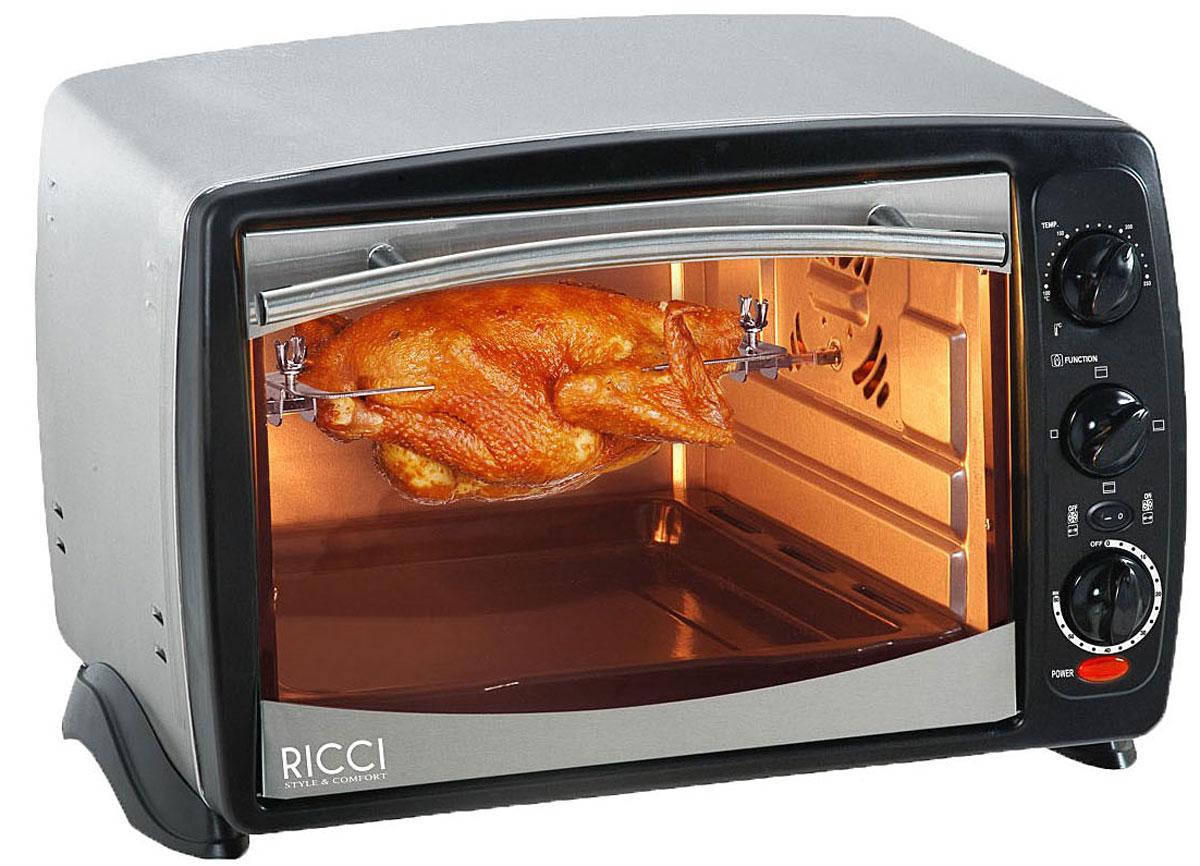 Ricci TO-18 CRKSL мини-печь17 TO-18CRKSLRicci TO-18 CRKSL - компактная духовка с внутренним объемом 18 литров. Идеально подходит как для деликатного приготовления пищи, так и для приготовления блюд с хрустящей корочкой. Данная модель оснащена термостатом с диапазоном температур 100 - 250°С . Легко очищается, комплектуется решеткой для гриля и противнем для выпекания.