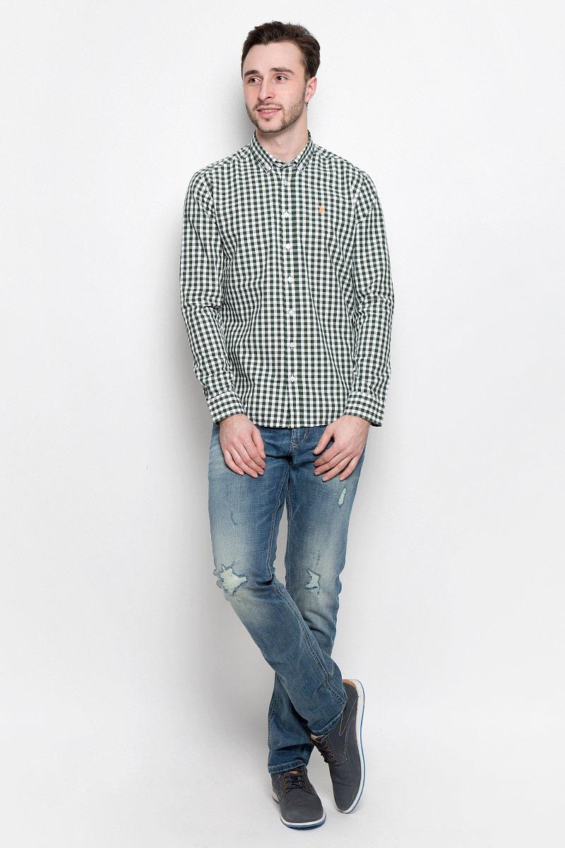 Рубашка мужская U.S. Polo Assn., цвет: темно-зеленый, белый. G081GL004AVILEMENIKE16K_VR054. Размер S (48) u s polo assn us799amikz47