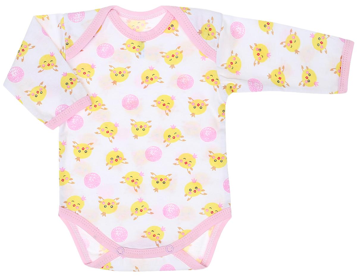 Боди детское Чудесные одежки, цвет: белый, розовый, желтый. 5861. Размер 625861Уютное детское боди Чудесные одежки станет идеальным дополнением к гардеробу вашего малыша. Изделие изготовлено из натурального хлопка, очень мягкое и приятное на ощупь, не раздражает нежную кожу ребенка и хорошо вентилируется.Боди с длинными рукавами и круглым вырезом горловины имеет удобные запахи на плечах, а также застежки-кнопки на ластовице, которые помогают легко переодеть ребенка и сменить подгузник. Все проймы изделия дополнены хлопковой бейкой. Оформлена модель оригинальным принтом.