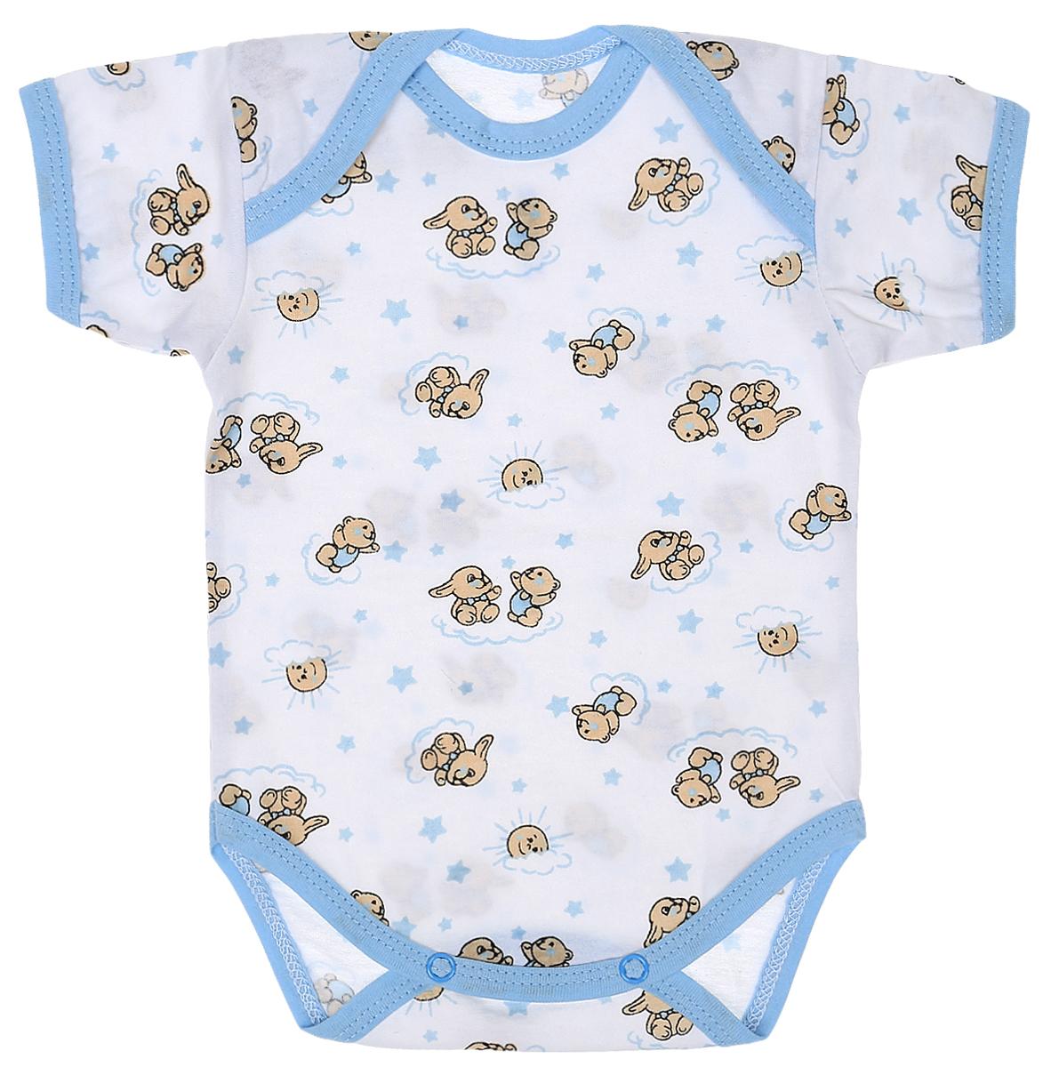 Боди детское Чудесные одежки, цвет: белый, голубой. 5863. Размер 685863Детское боди Чудесные одежки выполнено из натурального хлопка.Боди с короткими рукавами и круглым вырезом горловины застегивается на кнопки на ластовице, что позволяет легко и быстро одеть малыша или поменять подгузник. Горловина, манжеты рукавов и проймы для ножек отделаны трикотажной лентой. Модель оформлена принтом с изображением зайчиков и медвежат.