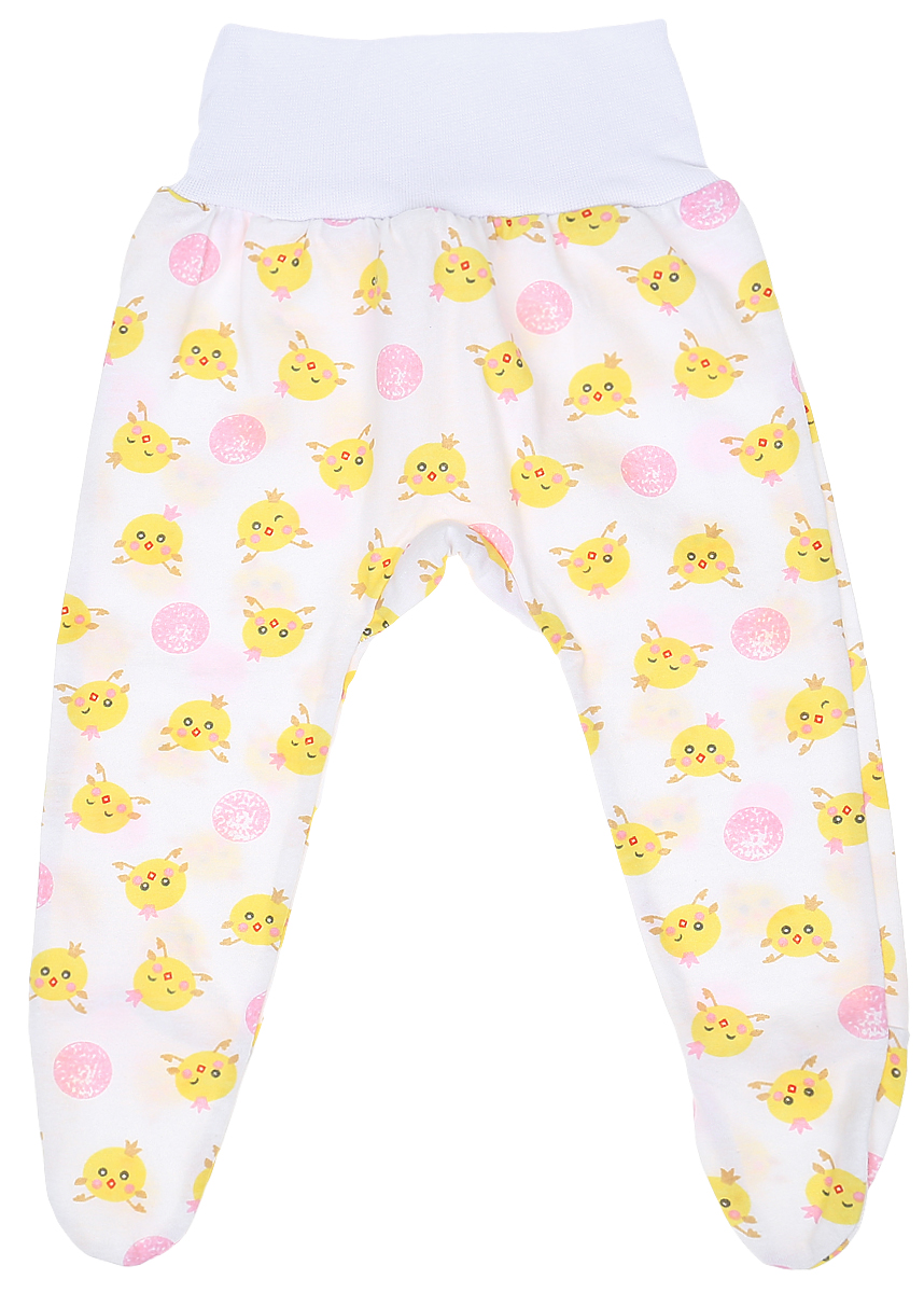 Ползунки детские Чудесные одежки, цвет: белый, розовый. 5207. Размер 805207Детские ползунки Чудесные одежки выполнены из натурального хлопка, благодаря чему великолепно пропускают воздух и обеспечивают комфорт и удобство, не раздражая нежную детскую кожу. Модель с закрытыми ножками и завышенной линией талии имеет широкий эластичный пояс. Ползунки оформлены принтом с изображением забавных цыплят.