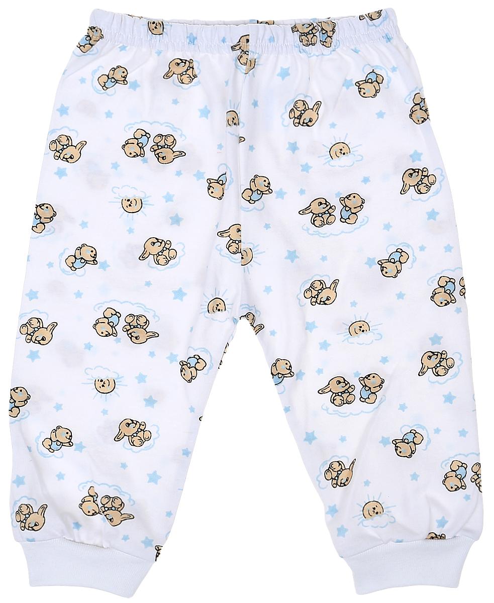 Штанишки детские Чудесные одежки, цвет: белый, голубой. 5305. Размер 865305Детские штанишки Чудесные одежки выполнены из натурального хлопка, благодаря чему великолепно пропускают воздух и обеспечивают комфорт и удобство, не раздражая нежную детскую кожу. Модель стандартной посадки дополнена эластичной резинкой на талии. Брючины оснащены широкими трикотажными манжетами по низу. Модель украшена принтом с изображением зайчиков и медвежат.