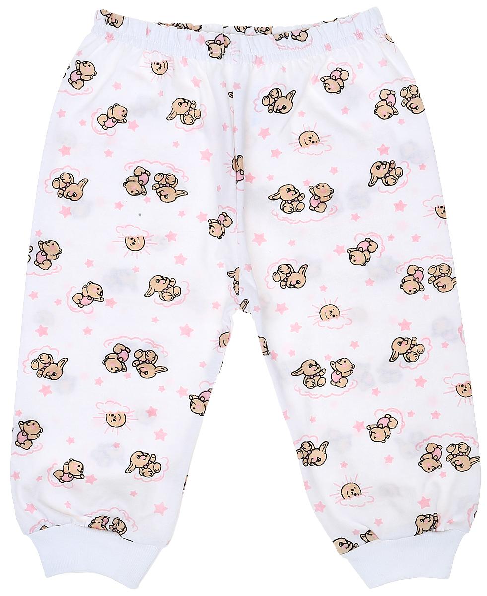 Штанишки детские Чудесные одежки, цвет: белый, розовый. 5305. Размер 745305Детские штанишки Чудесные одежки выполнены из натурального хлопка, благодаря чему великолепно пропускают воздух и обеспечивают комфорт и удобство, не раздражая нежную детскую кожу. Модель стандартной посадки дополнена эластичной резинкой на талии. Брючины оснащены широкими трикотажными манжетами по низу. Модель украшена принтом с изображением зайчиков и медвежат.