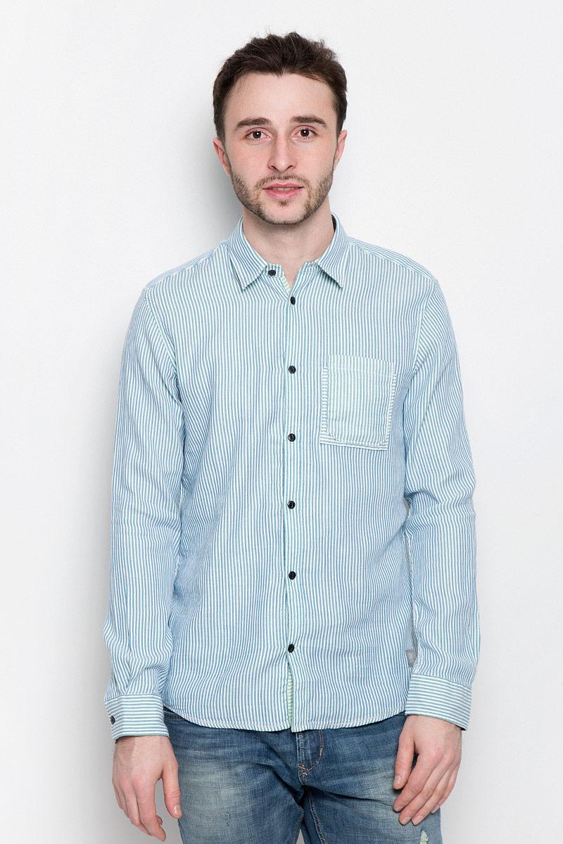 Рубашка мужская Tom Tailor, цвет: голубой, белый. 2032969.00.10_6589. Размер S (46) рубашка мужская tom tailor denim цвет белый голубой хаки 2033365 00 12 6696 размер s 46