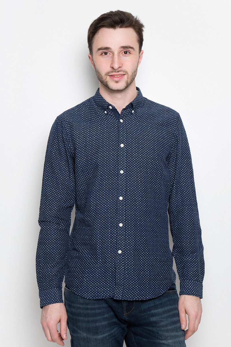 Рубашка мужская Tom Tailor Denim, цвет: темно-синий. 2033023.00.12_6740. Размер XL (52) футболка tom tailor denim tom tailor denim to793ewzfb71