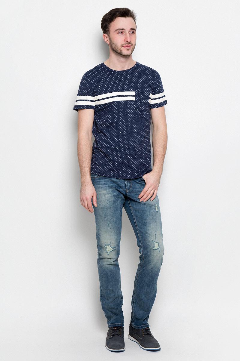 Футболка мужская Tom Tailor Denim, цвет: темно-синий, светло-бежевый. 1037079.01.12_2132. Размер L (50) футболка мужская tom tailor цвет бордовый 1038245 09 12 4257 размер l 50