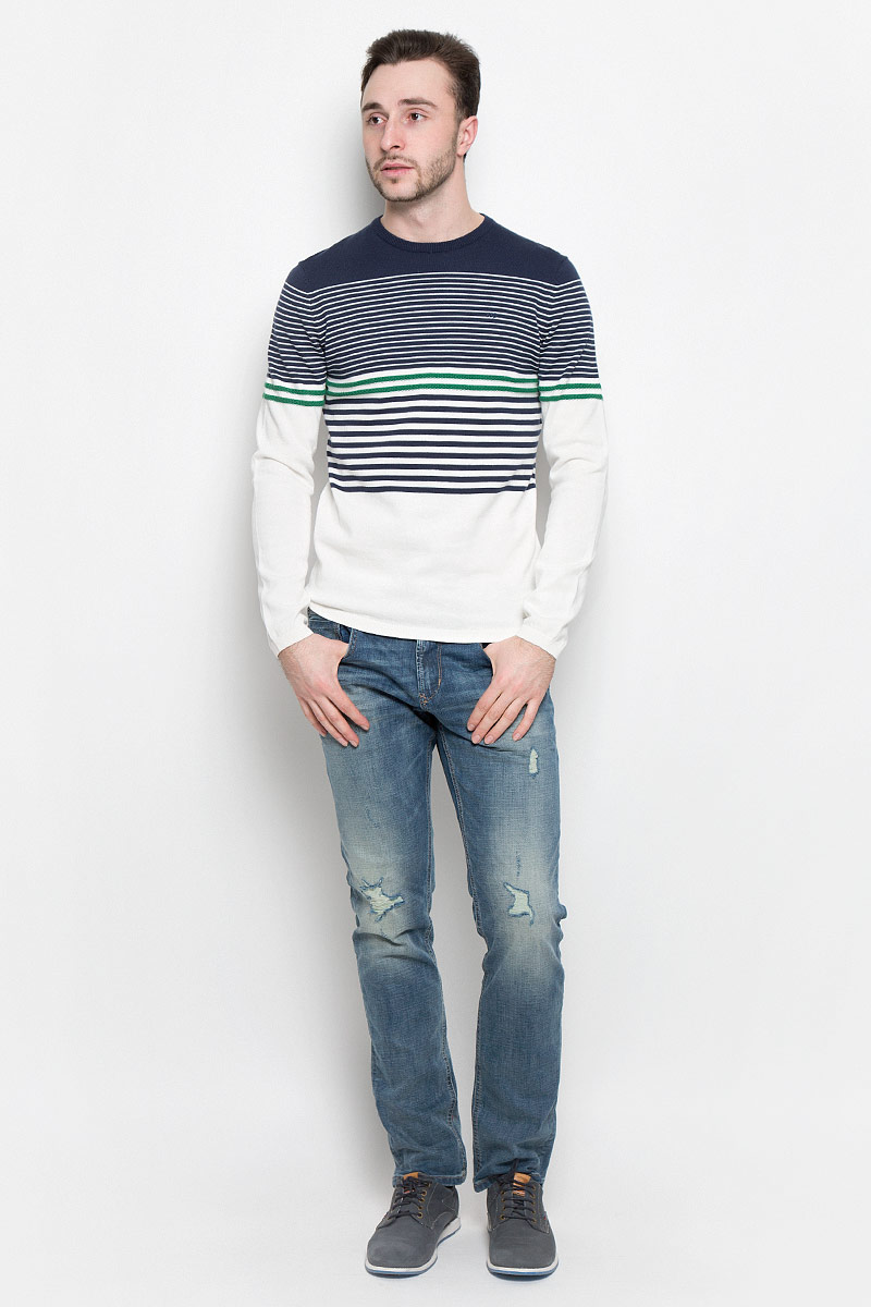 Джемпер мужской Tom Tailor Denim, цвет: темно-синий, белый. 3022490.00.12_6740. Размер M (48) camille s team