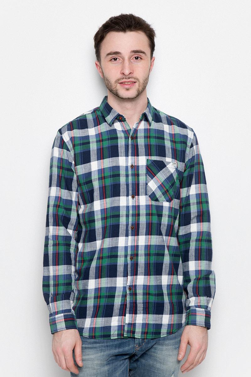 Рубашка мужская Tom Tailor Denim, цвет: темно-синий, зеленый. 2033021.00.12_4491. Размер L (50) платье для девочки tom tailor цвет серый темно синий 5019899 00 81 1000 размер 92 98