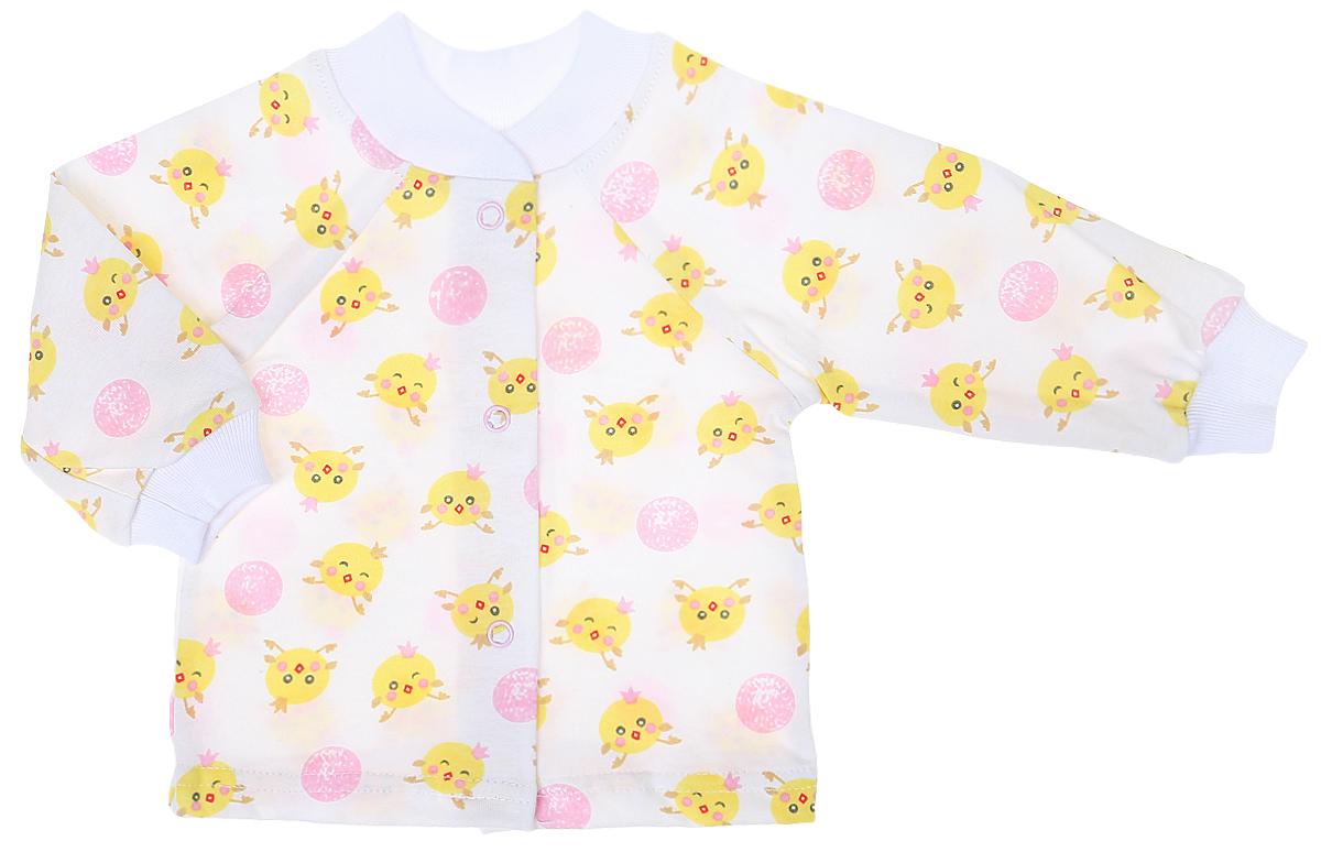 Кофточка детская Чудесные одежки, цвет: белый, розовый. 5154. Размер 565154Детская кофточка выполнена из натурального хлопка. Кофточка с длинными рукавами-реглан и круглым вырезом горловины застегивается на кнопки спереди. Рукава кофточки дополнены трикотажными манжетами, горловина также оснащена трикотажной вставкой. Изделие украшено принтом с изображением забавных цыплят.