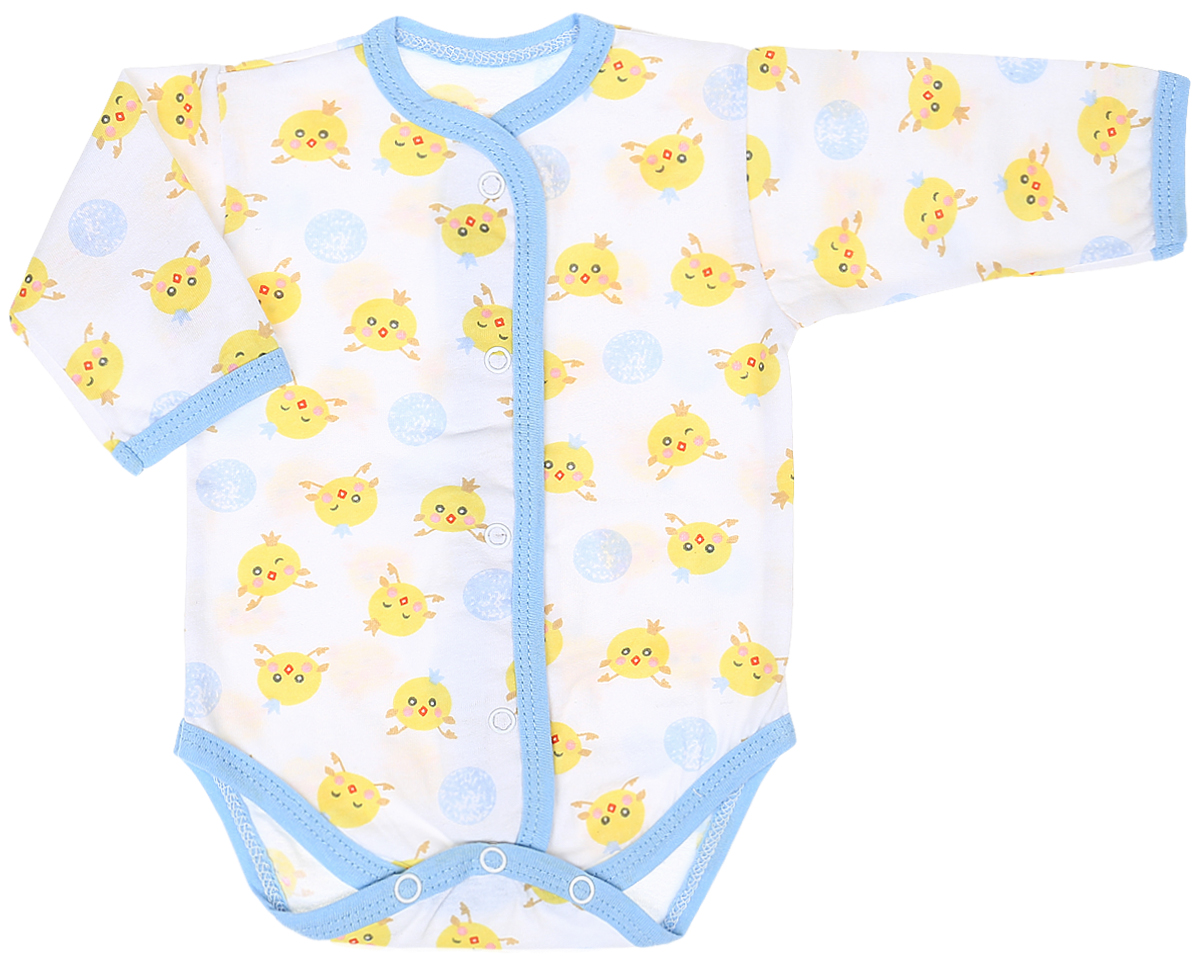 Боди детское Чудесные одежки, цвет: белый, голубой. 5866. Размер 565866Детское боди Чудесные одежки выполнено из натурального хлопка.Боди с длинными рукавами и круглым вырезом горловины застегивается на кнопки на ластовице и спереди, что позволяет легко и быстро одеть малыша или поменять подгузник. Горловина, манжеты рукавов, полочки и проймы для ножек отделаны трикотажной лентой. Модель оформлена принтом с изображением забавных цыплят.