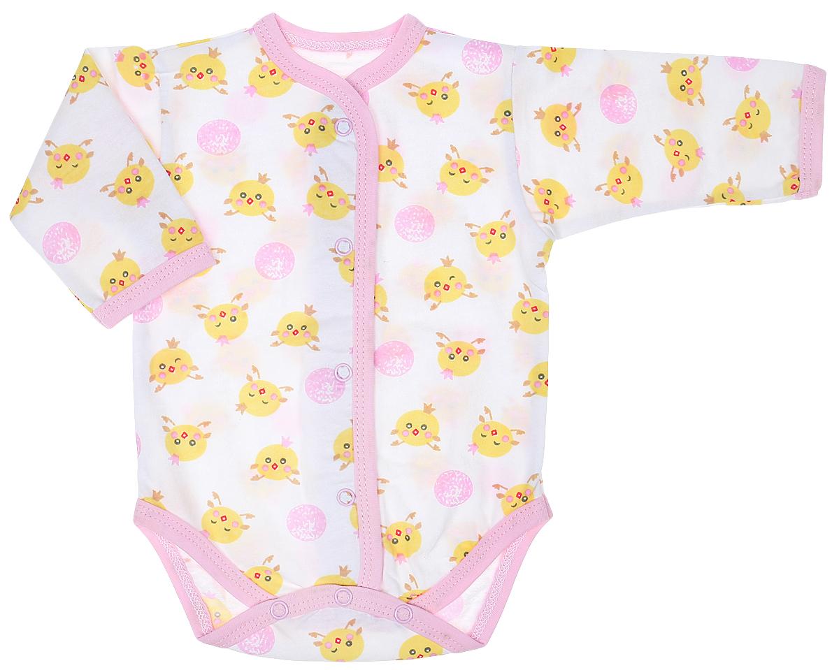 Боди детское Чудесные одежки, цвет: белый, розовый. 5866. Размер 86 боди детское hudson baby hudson baby боди цыплёнок 3 шт бирюзово розовый