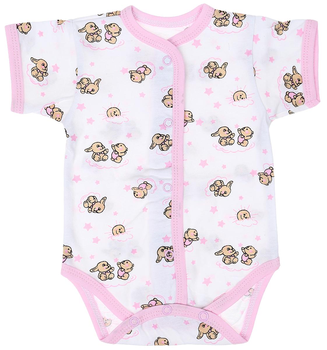 Боди детское Чудесные одежки, цвет: белый, розовый. 5869. Размер 86 боди детское hudson baby hudson baby боди цыплёнок 3 шт бирюзово розовый