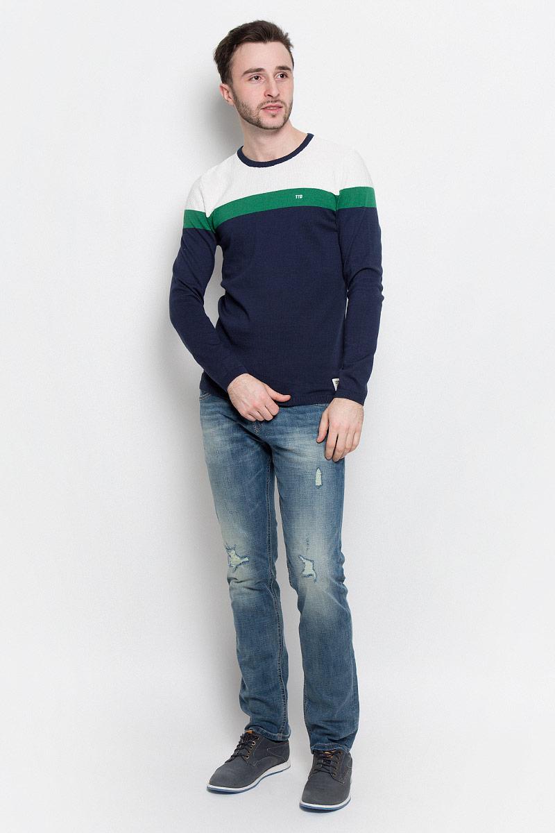 Джемпер мужской Tom Tailor Denim, цвет: темно-синий, белый, зеленый. 3022489.02.12_6740. Размер XL (52) джемпер мужской tom tailor denim цвет бордовый 3022104 01 12 4257 размер xl 52