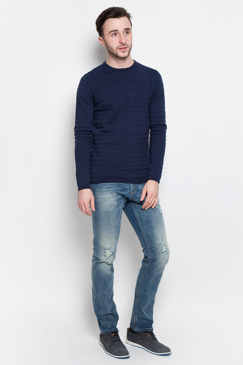 Джемпер мужской Tom Tailor Denim, цвет: темно-синий. 3022486.00.12_6740. Размер XL (52) футболка мужская tom tailor denim цвет зеленый 1037075 00 12 7772 размер xl 52