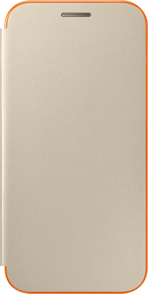 Samsung EF-FA320 FlipCover Neon чехол для Galaxy A3 (2017), GoldEF-FA320PFEGRUЧехол-книжка Samsung FlipCover Neon для Samsung Galaxy A3 2017 надежно защитит ваш смартфон от пыли, грязи, царапин, оставив при этом свободный доступ ко всем разъемам устройства. Чехол Samsung ClearView - это стильная и элегантная деталь вашего образа, которая всегда обращает на себя внимание среди множества вещей.