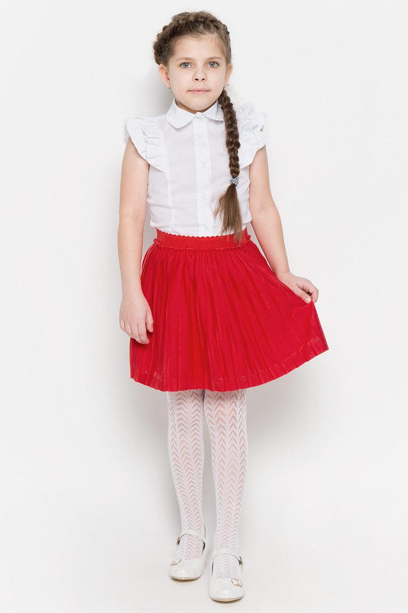 Юбка для девочки PlayToday, цвет: красный. 362037. Размер 98362037Яркая плиссированная юбка выполнена из легкого воздушного материала. Мягкая трикотажная подкладка и пояс на мягкой резинке обеспечивают максимальный комфорт. Яркий цвет позволяет создавать стильные сочетания.