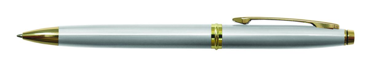 Berlingo Ручка шариковая Silver Luxe цвет корпуса серебристыйCPs_70410Шариковая ручка Berlingo Silver Luxe - это классическая автоматическая шариковая ручка с поворотным механизмом. Клип, наконечник и кольцо выполнены из жёлтого металла. Цвет чернил - синий. Диаметр пишущего узла - 0,7 мм. Подходит для нанесения логотипа. Ручка упакована в индивидуальный пластиковый футляр.