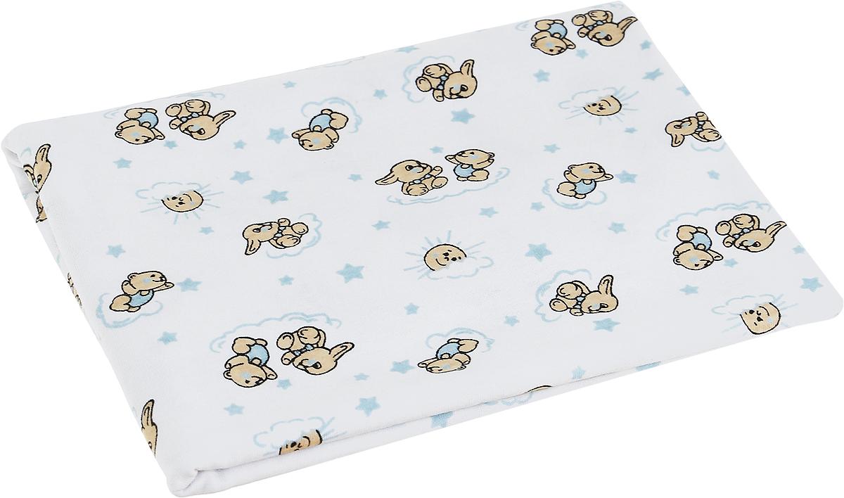 Чудесные одежки Детская пеленка Зайчик 120 х 90 см цвет белый голубой чудесные одежки пеленка текстильная собачка цвет белый бежевый голубой 120 х 90 см