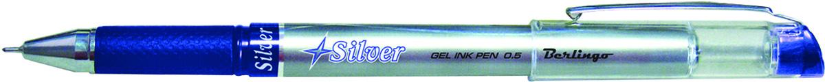 Berlingo Ручка гелевая Silver цвет синийCGp_50162Гелевая ручка с колпачком и клипом. Необычный дизайн корпуса привлекает внимание. Цвет деталей корпуса соответствует цвету чернил. Диаметр пишущего узла - 0,5 мм. Упаковка в картонную коробку по 12 шт.