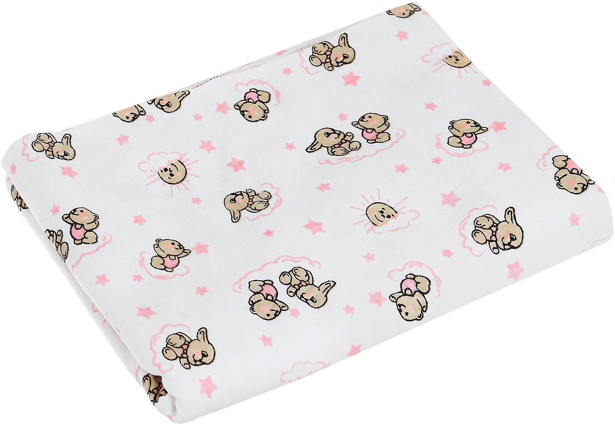 Чудесные одежки Детская пеленка Зайчик 120 х 90 см цвет белый розовый пеленка трикотажная трон плюс цвет розовый 120 см х 90 см