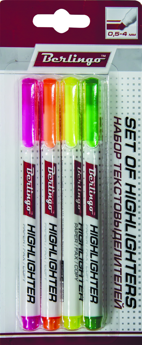 Berlingo Набор текстовыделителей Slim 4 цвета BTt_40109BTt_40109Набор текстовыделителей Berlingo включает в себя 4 текстовыделителя с флуоресцентными чернилами на водной основе. В наборе - 4 цвета. Толщина линии от 1 до 5 мм. Удобный клип. Цвет колпачка и торцевого элемента соответствует цвету чернил. Упаковка - прозрачный ПВХ-пенал с европодвесом.