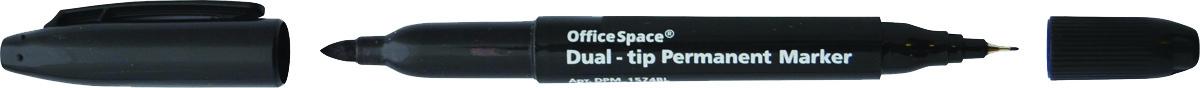 OfficeSpace Маркер перманентный двухсторонний цвет черныйDPM_1574BLПерманентный двухсторонний маркер OfficeSpace предназначен для письма на большинстве поверхностей: бумаге, коже, пластмассе, металле, резине, ткани. Пулевидный наконечник.