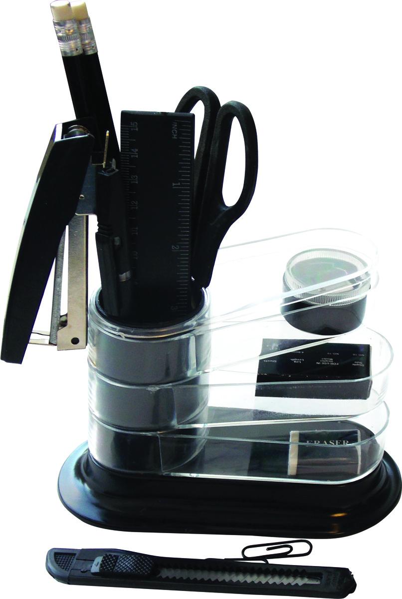 OfficeSpace Настольный канцелярский набор Веер 11 предметовSS160_3182/ 205591Настольный канцелярский набор OfficeSpace Веер - необходимый атрибут офисного сотрудника, студента, ученика и просто полезный набор на любом письменном столе.Функциональная подставка выполнена в виде веера. Имеется стакан для пишущих принадлежностей и секции для канцелярских мелочей.