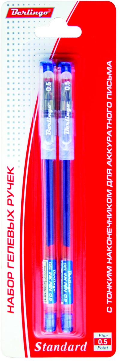 Berlingo Набор гелевых ручек Standard синие 2 штCGp_500122Набор гелевых ручек Berlingo Standard включает в себя 2 ручки с прозрачным корпусом и пластиковым клипом. Игольчатый стержень. Мягкий резиновый грип препятствует скольжению пальцев и обеспечивает комфортное письмо. Диаметр пишущего узла - 0,5 мм.