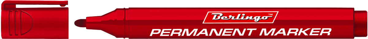 Berlingo Маркер перманентный цвет красный BMc_15203BMc_15203Перманентный маркер Berlingo предназначен для письма на любой поверхности. Заправлен водостойкими чернилами на спиртовой основе, которые после нанесения быстро высыхают и не стираются. Толщина линии - 3 мм.