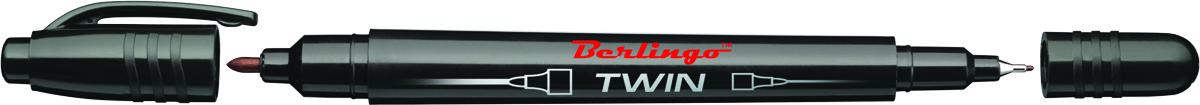Berlingo Маркер перманентный двухсторонний цвет черный calligrata маркер перманентный цвет черный